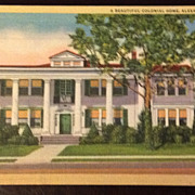 Vintage Alexandria Louisiana Colonial Home Postcard