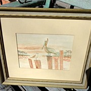 Vintage Framed Pelican Picture P. Watarman