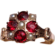 REDUCED Victorian 10K Gold Garnet & Seed Pearl Ring