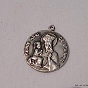 Vintage Sterling Silver St. Anne De Beaupre Medal