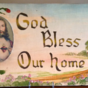 SALE Vintage God Bless Our Home Motto