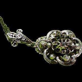REDUCED Georgian Sterling Silver Rose Cut Diamond Pendant