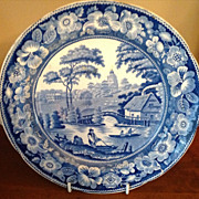 REDUCED Antique Blue & White Wild Rose Warming Dish