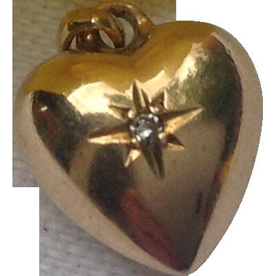Vintage 14K Gold Diamond Puffy Heart Charm Pendant