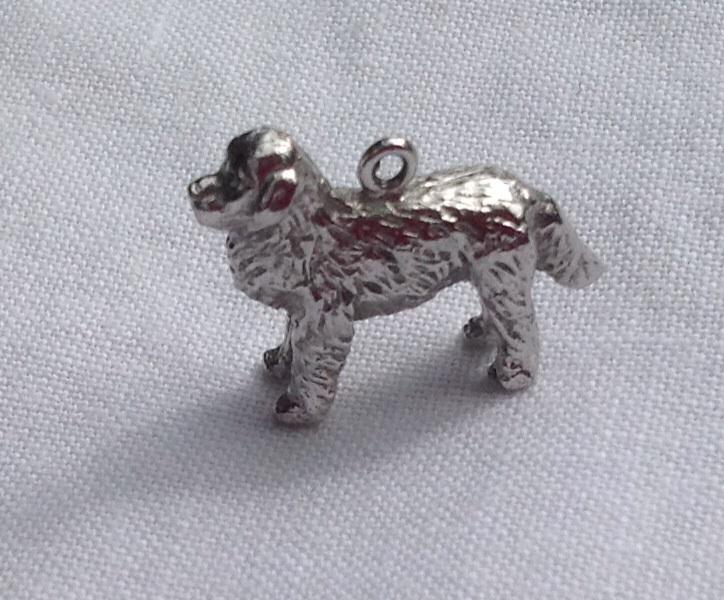 Vintage 3D Sterling Silver St Bernard Dog Charm