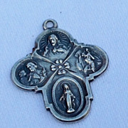 Vintage Sterling Silver Four Way Devotional Miraculous Medal