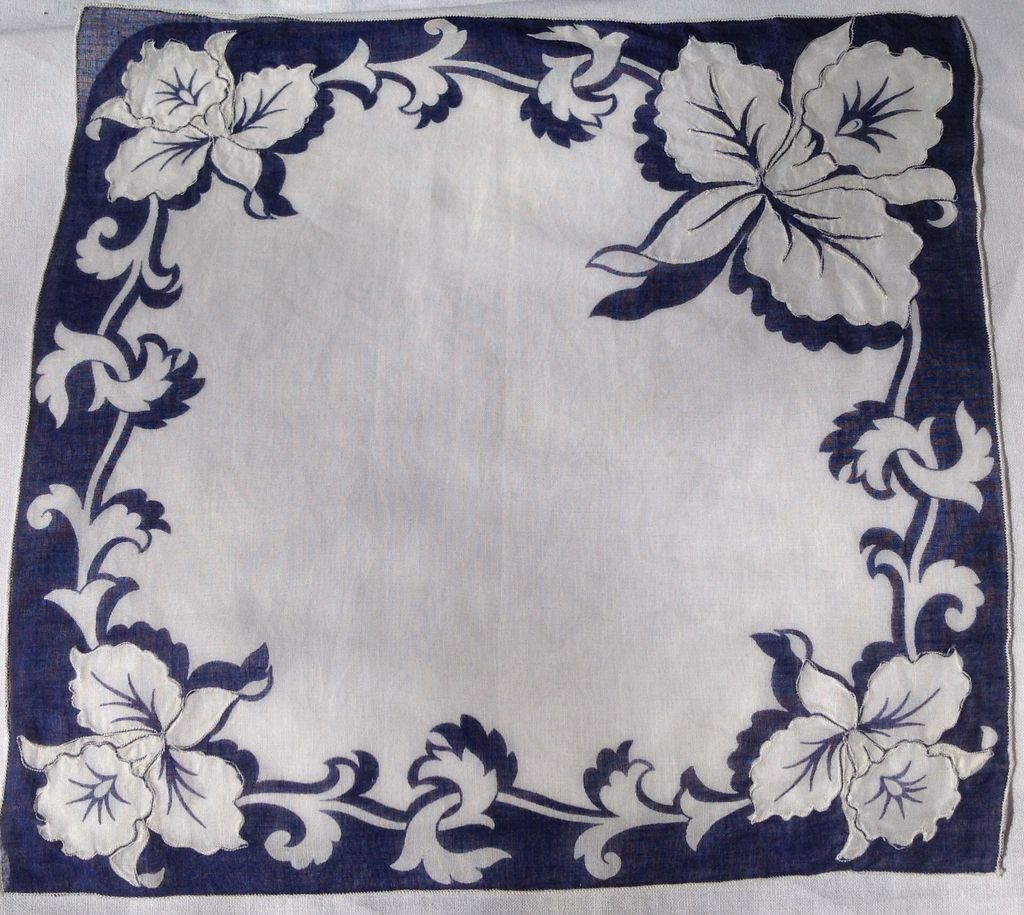 Lovely Vintage Handkerchief With Floral Orchid Design