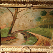 REDUCED 1918 Vintage Framed Oil Painting Signed George Clone