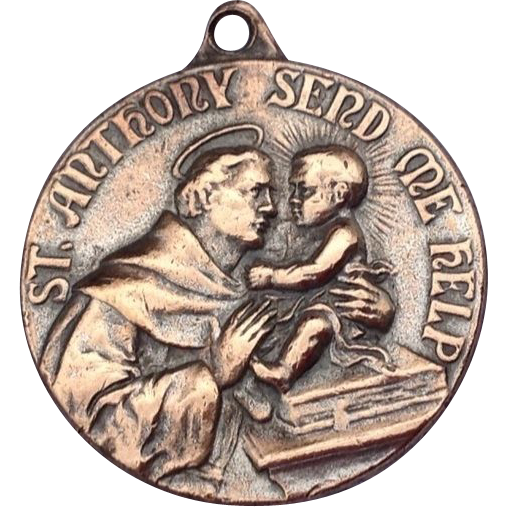 Large Vintage Bronze St. Anthony Medal