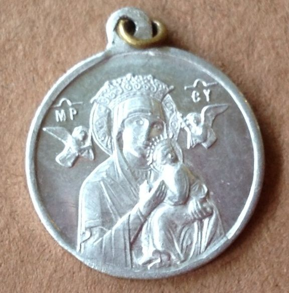 Vintage Aluminum Our Lady Of Perpetual Help Medal