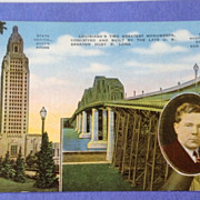 Vintage 1940's Louisiana State Capital Huey P Long Bridge Post Card