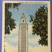 Vintage Louisiana State Capital Post Card