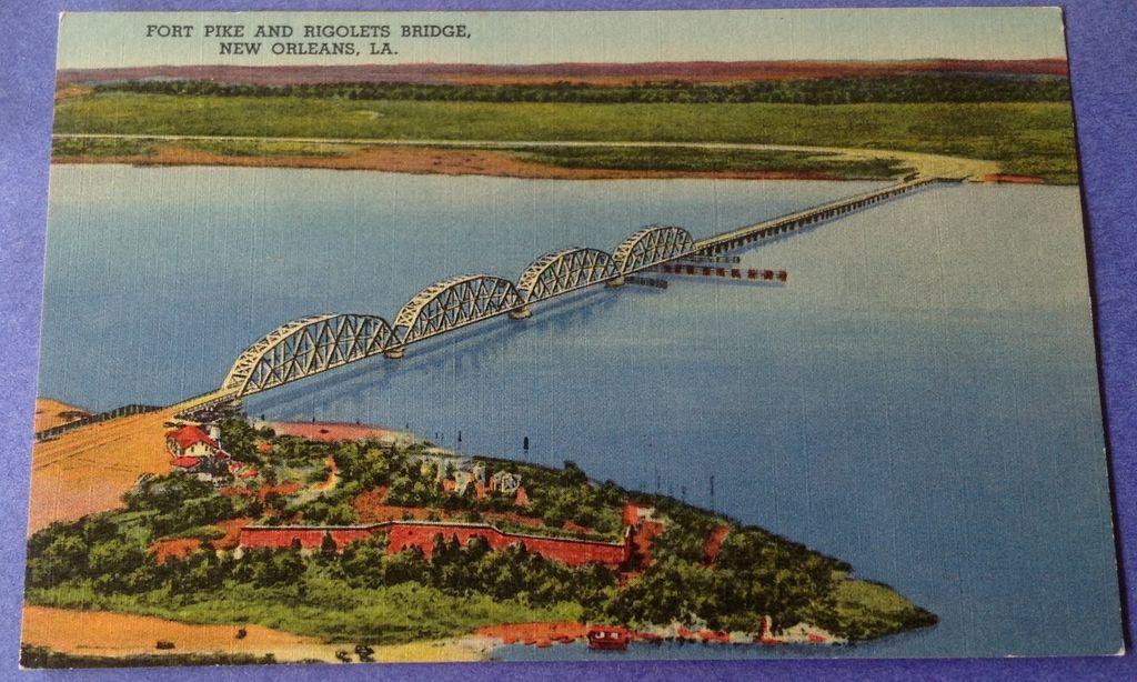 Vintage Fort Pike & Rigolets Bridge New Orleans Post Card