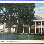 Vintage  Three Oakes Plantation New Orleans Louisiana Post Card