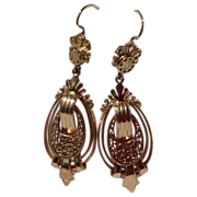 REDUCED Victorian Style 14K Gold Dangle Earrings