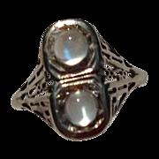 REDUCED Vintage Art Deco 14K White Gold Filigree Double Moonstone Ring