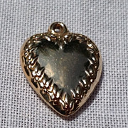 REDUCED Vintage 10K Gold Puffy  Heart Pendant Charm