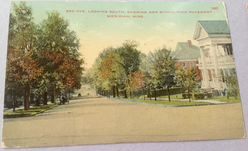 1912  23D Ave Looking South Meridian Mississippi Post Card