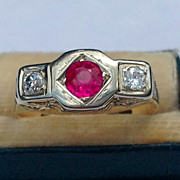 REDUCED Vintage 14K Gold  Synthetic Ruby & Genuine Diamond Ring