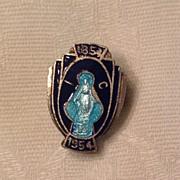 Vintage Silver Tone Metal Blue Enamel Catholic Religious Pin
