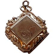 REDUCED Victorian Gold Filled Double Photo Watch Fob Locket