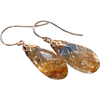REDUCED Spun Gold Rutilated Quartz 14 K Gold Dangle Earrings