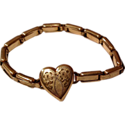 Vintage Gold Filled Stretch Heart Bracelet