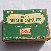 Vintage Eli Lilly & Co. Empty Gelatin Capsules Box No. 00