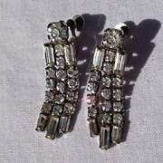 Vintage Silver Tone Metal Rhinestone Dangle Earrings