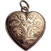 REDUCED Vintage French 18 K Gold Heart Double Photo Locket