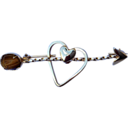 Vintage  Gold Filled Heart & Arrow Brooch