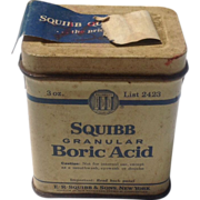 Vintage Squibb Boric Acid Tin