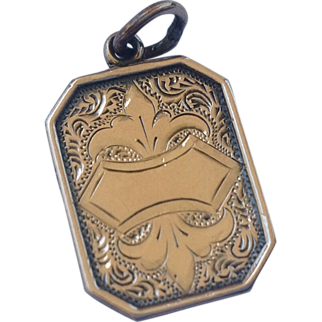 REDUCED Victorian Gold Filled  Black Enameled Lord's Prayer Charm Pendant