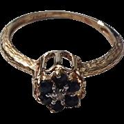 REDUCED Vintage 14 K Gold Spinel & Diamond Ring
