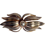 Vintage Gold & Silver Tone Metal Faux Pearl Brooch