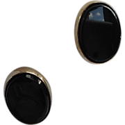 Vintage Atmark 12 K Gold Filled Black Onyx Earrings