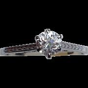 REDUCED Vintage  Solitaire Art Deco 18 K .30 Ct Diamond Engagement Ring