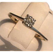 Vintage 10 K Gold Diamond Solitaire Promise Engagement Ring