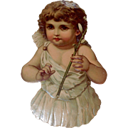 Large Victorian Embossed Scrap Cherub With Lily