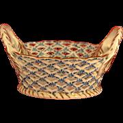 Vintage Andrea by Sadek Lattice Blue and White Basket