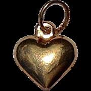 Vintage 14 K Gold Puffy Heart Charm Pendant