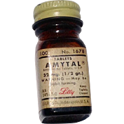 Vintage 1960'S Lilly Amytal Brown Glass Bottle