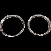 Pair Vintage Sterling Silver Rim Glass Coaster