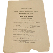 1900 Program From Dedication Of Union Church Vinalhaven, Maine
