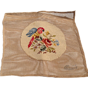Vintage Needlepoint Canvas Parrot And Rose