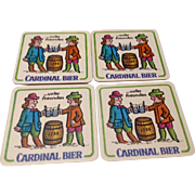 Vintage Set Of Four German Cardinal Bier Coasters Or Mats