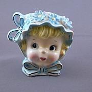 Vintage Girl Lady Head Vase, Japan