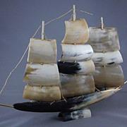 Vintage Sailing Ship Made of Horn