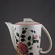 Vernon Kilns Ultra Line Coffee Pot In 'Rosalie' Pattern By Gale Turnbull