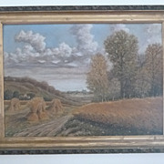 Hay Stack Landscape Oil Painting G.G. Pieffer